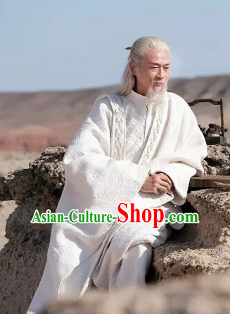 Drama Ever Night Chinese Ancient Taoist Priest White Hanfu Clothing Traditional Tang Dynasty Swordsman Costumes for Men