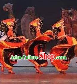 Chinese Impression of Lijiang Naxi Nationality Ethnic Dance Dress Stage Performance Costume and Headpiece for Women