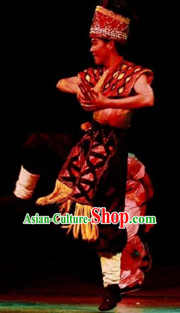 Chinese Impression of Lijiang Naxi Nationality Ethnic Bridegroom Dance Stage Performance Costume for Men