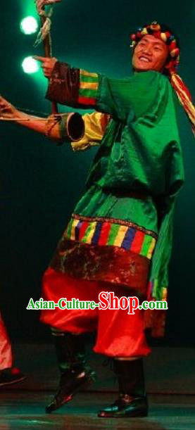 Chinese Impression of Lijiang Zang Nationality Ethnic Dance Green Robe Stage Performance Costume for Men