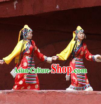 Chinese Impression of Lijiang Zang Nationality Ethnic Dance Red Dress Stage Performance Costume and Headpiece for Women