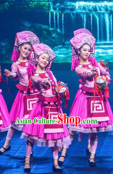 Chinese Impression of Lijiang Yi Nationality Ethnic Dance Rosy Dress Stage Performance Costume and Headpiece for Women