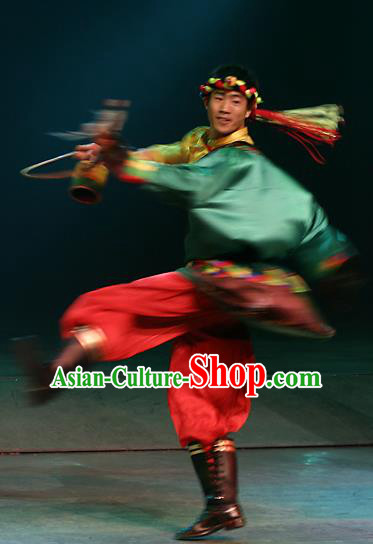Chinese Lishui Jinsha Zhuang Nationality Dance Clothing Ethnic Stage Performance Costume for Men