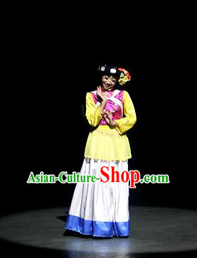 Chinese Lishui Jinsha Yi Nationality Dance White Dress Ethnic Stage Performance Costume and Headpiece for Women