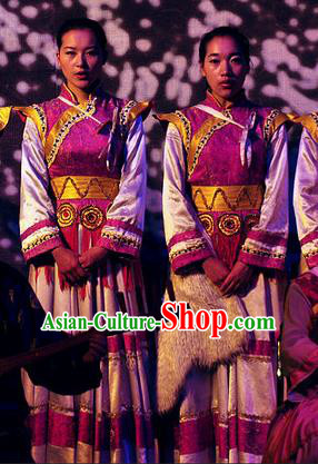 Chinese Lishui Jinsha Yi Nationality Dance Rosy Dress Ethnic Stage Performance Costume for Women