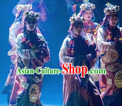 Chinese Encounter Shangri La Impression Tibetan Ethnic Dance Robe Stage Performance Costume and Headpiece for Women
