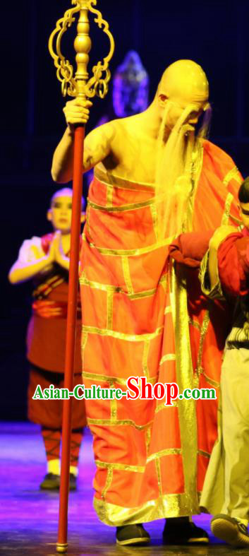 Chinese the Legends of Kung Fu Dance Monk Abbot Cassock Stage Performance Costume for Men