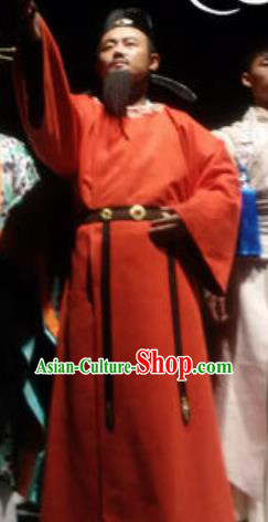 Chinese Encore Dunhuang Tang Dynasty Minister Red Clothing Stage Performance Dance Costume for Men