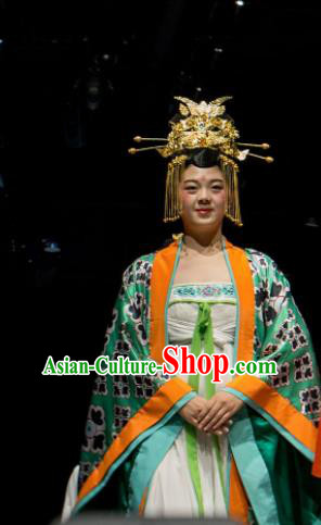Chinese Encore Dunhuang Tang Dynasty Queen Dance Green Dress Stage Performance Costume and Headpiece for Women