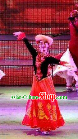 Chinese Turpan Festival Uyghur Nationality Dance Red Dress Stage Performance Ethnic Costume and Headpiece for Women
