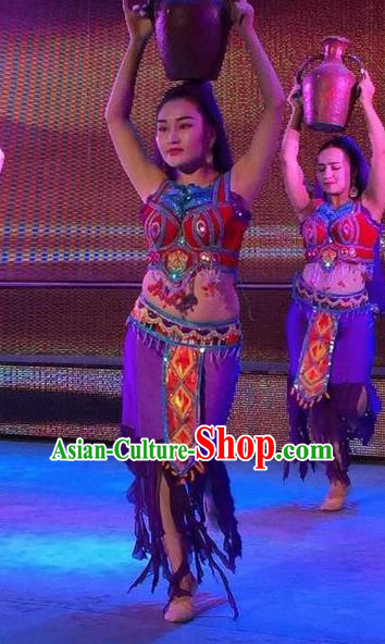 Chinese Turpan Festival Uyghur Nationality Dance Purple Dress Stage Performance Ethnic Costume and Headpiece for Women