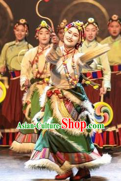 Chinese Encounter Shangri La Impression Tibetan Ethnic Dance Green Robe Stage Performance Costume and Headpiece for Women