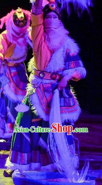 Chinese Encounter Shangri La Impression Zang Ethnic Dance Tibetan Robe Stage Performance Costume and Headpiece for Women
