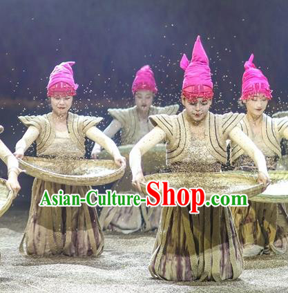 Chinese Encounter Shangri La Impression Ethnic Dance Dress Stage Performance Costume and Headpiece for Women