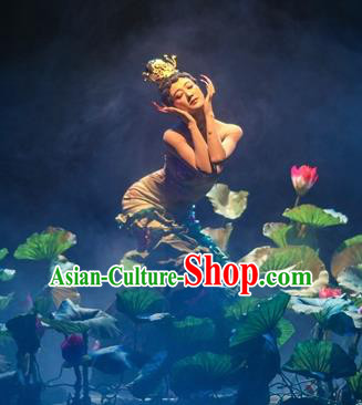 Chinese Encounter Shangri La Impression Lotus Dance Dress Stage Performance Costume and Headpiece for Women
