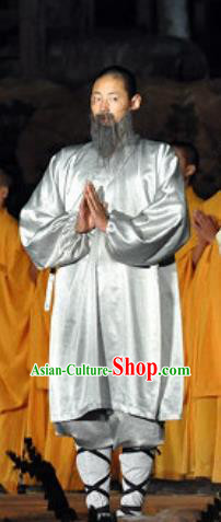 Chinese Shaolin Zen Music Ritual Monk Grey Outfits Stage Performance Costume for Men