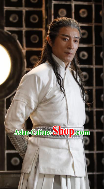 Ever Night Chinese Drama Ancient Swordsman Liu Bai White Hanfu Clothing Traditional Tang Dynasty Knight Costumes for Men