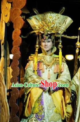 Chinese Picturesque Huizhou Opera Peri Queen Mother Classical Dance Dress Stage Performance Costume and Headpiece for Women
