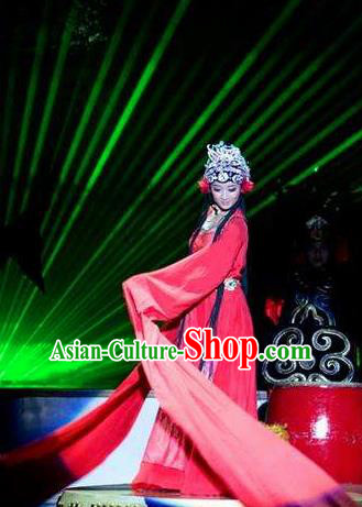 Chinese Picturesque Huizhou Opera Dance Red Dress Stage Performance Costume and Headpiece for Women