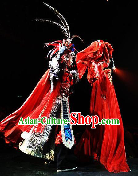 Chinese Picturesque Huizhou Opera Ancient General Armor Clothing Stage Performance Dance Costume for Men