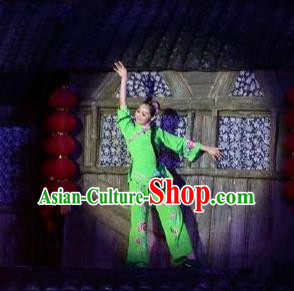 Chinese Phoenix Timeless Love Miao Nationality Dance Green Dress Stage Performance Costume and Headpiece for Women