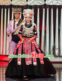 Chinese Charm Xiangxi Miao Nationality Dance Black Dress Stage Performance Costume and Headpiece for Women