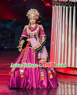Chinese Charm Xiangxi Miao Nationality Dance Purple Dress Stage Performance Costume and Headpiece for Women
