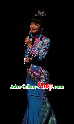 Chinese Charm Xiangxi Tujia Nationality Dance Blue Dress Stage Performance Costume and Headpiece for Women