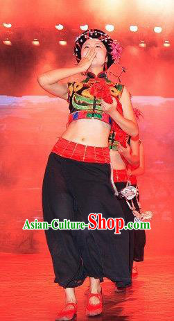 Chinese Charm Xiangxi Tujia Nationality Dance Black Dress Stage Performance Costume and Headpiece for Women