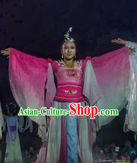 Chinese Dream Of Tao Classical Dance Pink Dress Stage Performance Costume and Headpiece for Women
