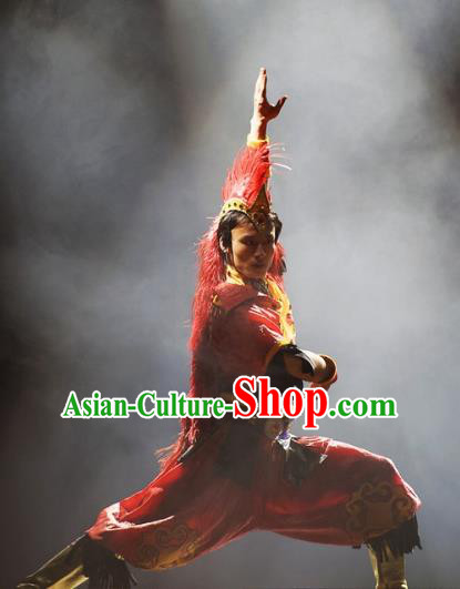 Chinese Oriental Apparel Wa Nationality Red Clothing Stage Performance Dance Costume for Men