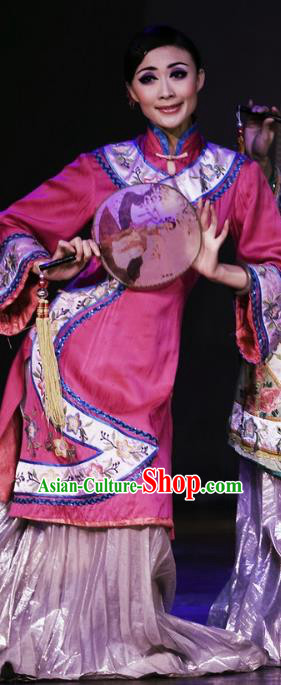 Chinese Oriental Apparel Fan Dance Rosy Dress Stage Performance Ethnic Costume for Women