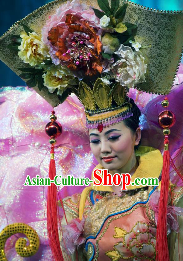 Chinese Oriental Apparel Manchu Classical Dance Dress Stage Performance Ethnic Costume and Headpiece for Women