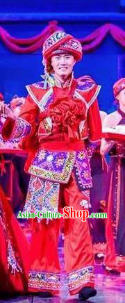 Chinese Charm Xiangxi Tujia Nationality Wedding Bridegroom Red Clothing Stage Performance Dance Costume for Men