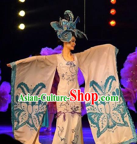 Chinese Dream Like Lijiang Classical Dance White Dress Stage Performance Costume and Headpiece for Women