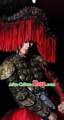 Chinese Xijiang Grand Ceremony Miao Nationality General Clothing Stage Performance Dance Costume for Men