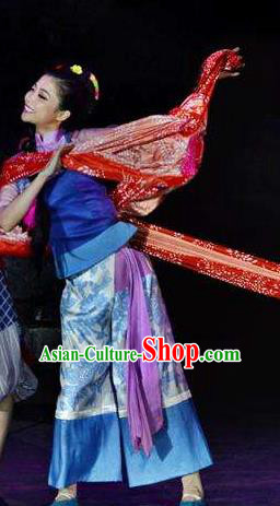 Chinese Border Town Miao Nationality Boat Girl Cui Cui Dance Dress Stage Performance Costume and Headpiece for Women
