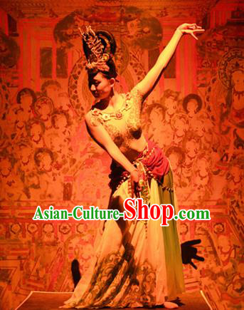 Chinese The Ancient Dunhuang Music Theatre Flying Apsaras Classical Dance Dress Stage Performance Costume and Headpiece for Women