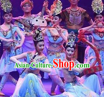 Chinese The Ancient Dunhuang Music Theatre Classical Dance Flying Apsaras Blue Dress Stage Performance Costume and Headpiece for Women