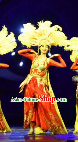Chinese Golden Mask Dynasty Dance Red Dress Stage Performance Costume and Headpiece for Women