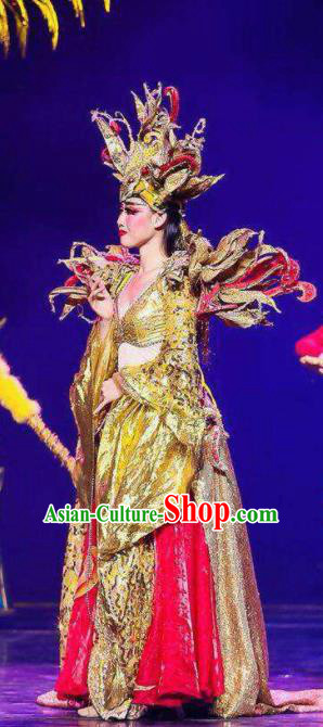Chinese Golden Mask Dynasty Queen Dance Dress Stage Performance Costume and Headpiece for Women