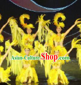 Chinese Golden Mask Dynasty Classical Dance Yellow Dress Stage Performance Costume and Headpiece for Women