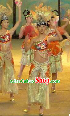 Chinese Dragon Phoenix Dance Nationality Dress Stage Performance Costume and Headpiece for Women