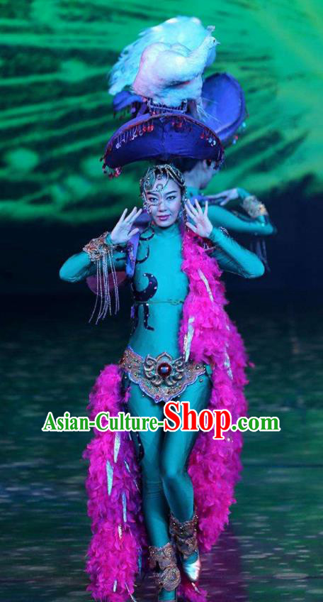 Chinese Golden Mask Dynasty Dance Dress Stage Performance Costume and Headpiece for Women