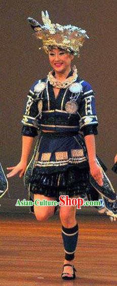 Chinese Wind Of Colorful Guizhou Miao Nationality Ethnic Dance Navy Dress Stage Performance Costume and Headpiece for Women