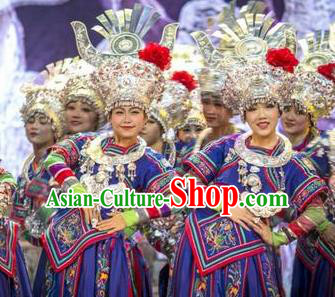 Chinese Wind Of Colorful Guizhou Miao Nationality Ethnic Dance Royalblue Dress Stage Performance Costume and Headpiece for Women