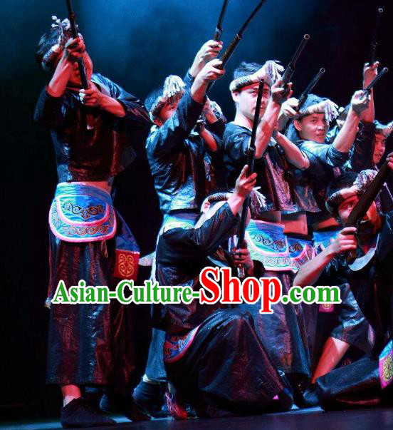 Chinese Wind Of Colorful Guizhou Miao Nationality Dance Clothing Stage Performance Dance Costume for Men