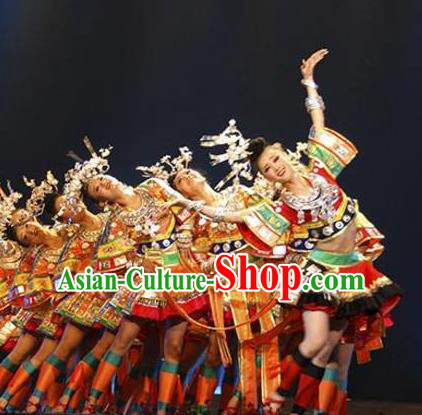 Chinese Wind Of Colorful Guizhou Yi Nationality Ethnic Dance Dress Stage Performance Costume and Headpiece for Women