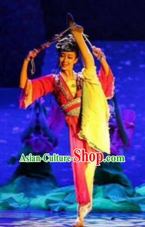 Chinese The Moon Rising On The Helan Mountain Classical Dance Rosy Dress Stage Performance Costume and Headpiece for Women