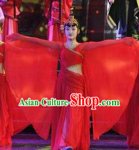 Chinese Han Wind Float In The Sky Classical Dance Red Dress Stage Performance Costume and Headpiece for Women